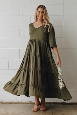 Ruffle Dress in Khaki - S/M