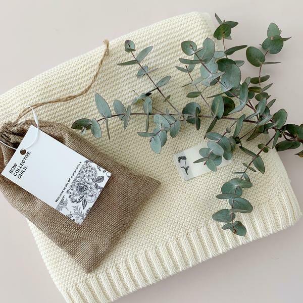 Cream Cotton Knit Baby Blanket