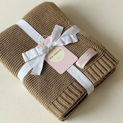 Nutmeg Cotton Knit Baby Blanket