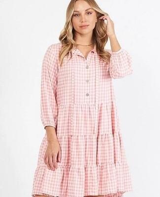 Pink Gingham Dress - S/M