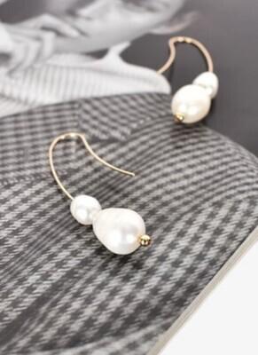 Freshwater Pearl - Plated Metal Earrings