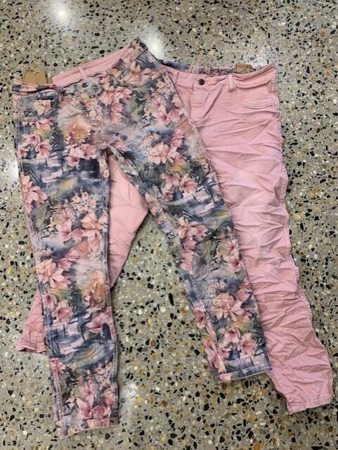 Pink Floral Reversible Jeans - XL