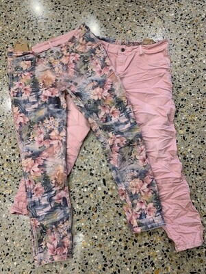 Pink Floral Reversible Jeans - XXL