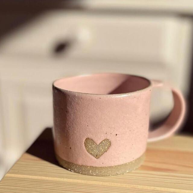 Ceramic Mug - dusty pink with heart