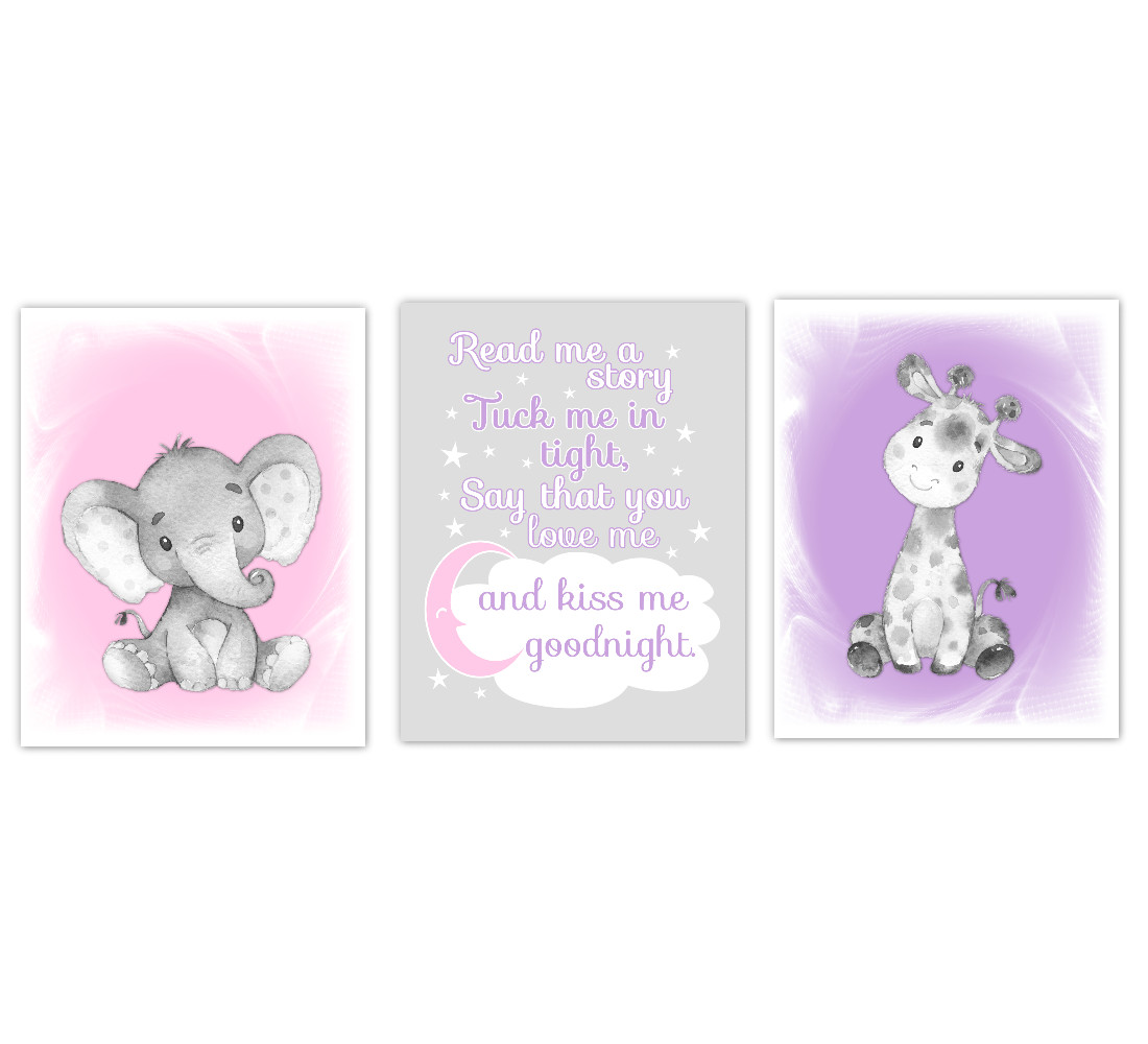 Safari Animals Baby Girl Nursery Decor Pink Purple Wall Art Prints Elephant Giraffe Home Decor Kids Bedroom  Set of 3 UNFRAMED PRINTS or CANVAS