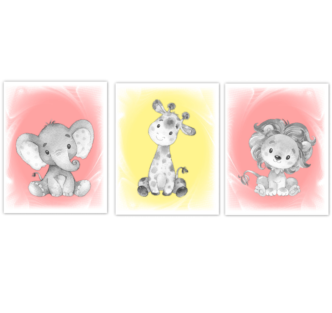 Safari Animals Baby Girl Nursery Decor Coral Yellow Wall Art Prints Elephant Giraffe Lion Home Decor Kids Bedroom Set of 3 UNFRAMED PRINTS or CANVAS