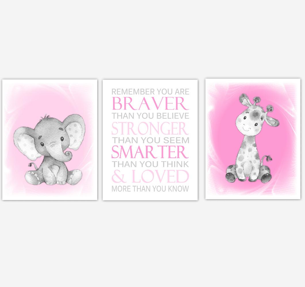 Safari Animals Baby Girl Nursery Decor Pink Gray Wall Art Prints Elephant Giraffe Home Decor Kids Bedroom Set of 3 UNFRAMED PRINTS or CANVAS