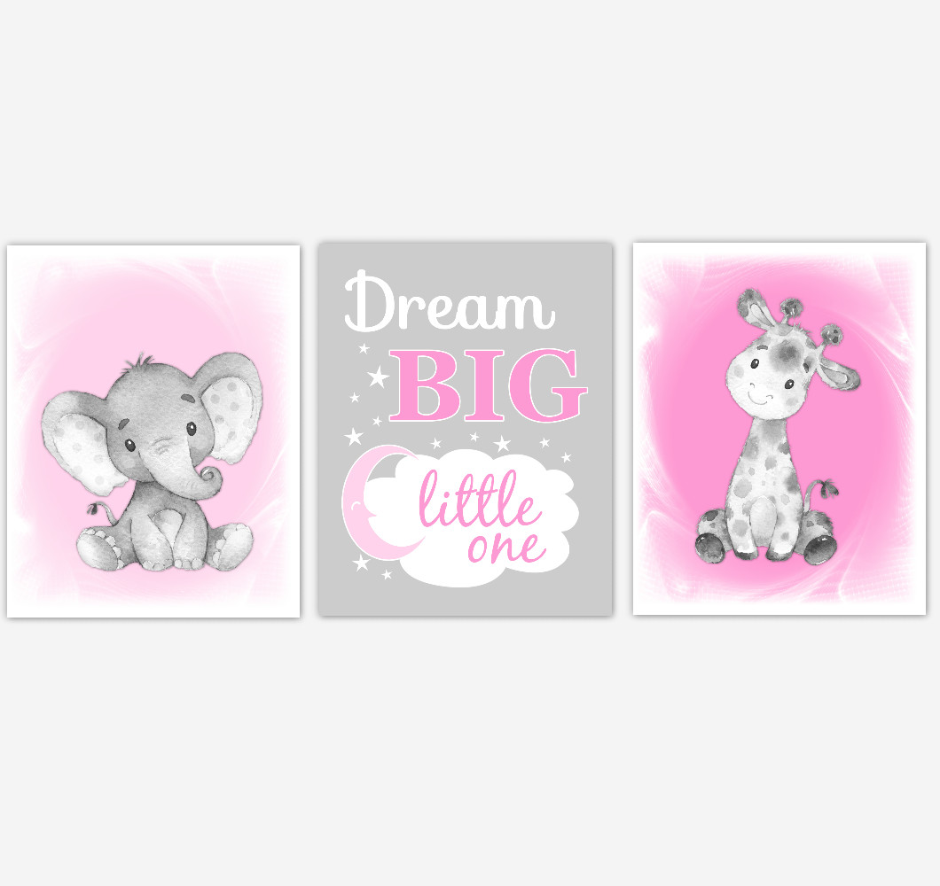 Safari Animals Baby Girl Nursery Decor Pink Gray Wall Art Prints Elephant Giraffe Home Decor Kids Bedroom Set of 3 UNFRAMED PRINTS or CANVAS
