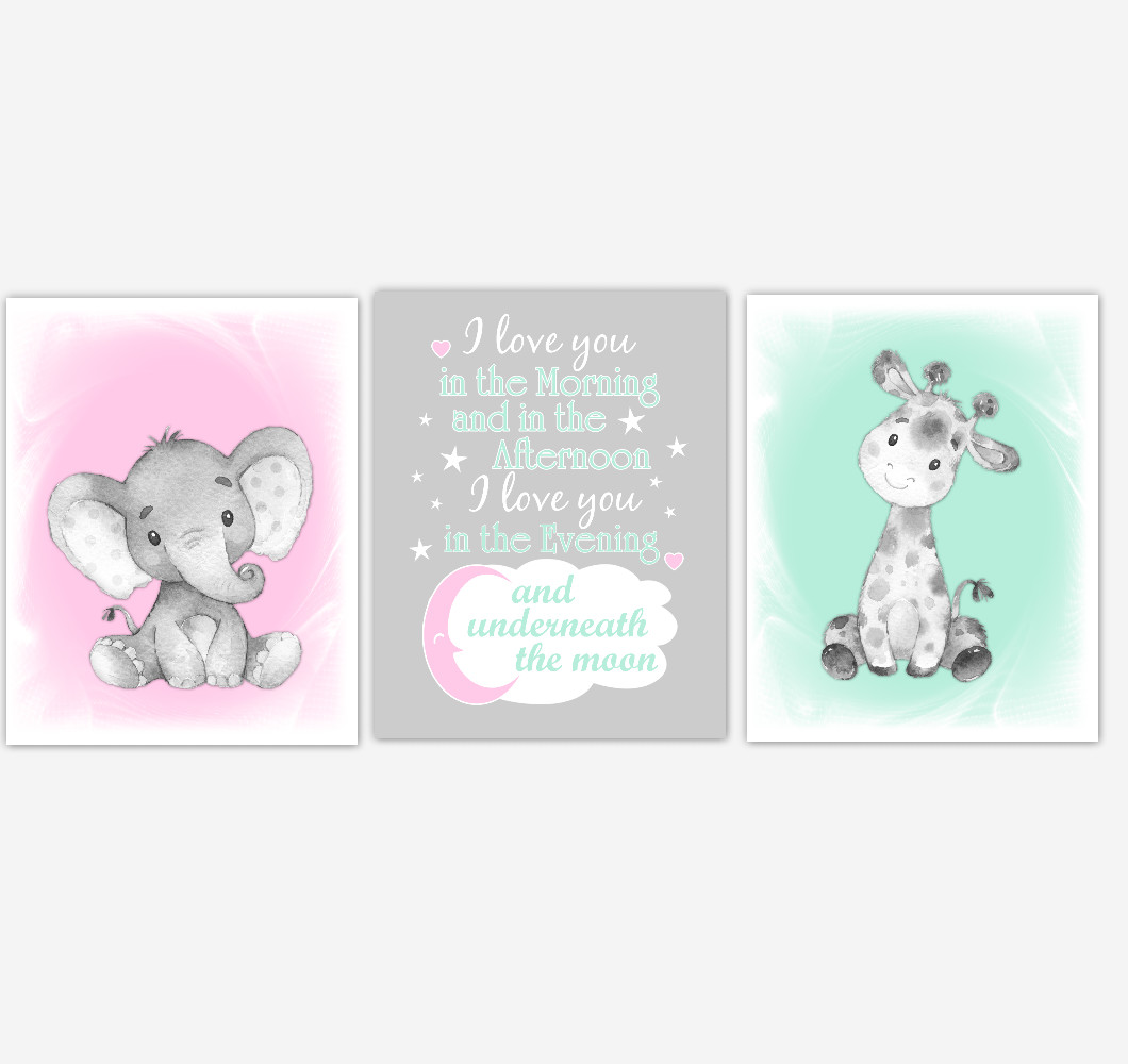 Safari Animals Baby Girl Nursery Decor Pink Mint Green Wall Art Prints Elephant Giraffe Home Decor Kids Bedroom Set of 3 UNFRAMED PRINTS or CANVAS