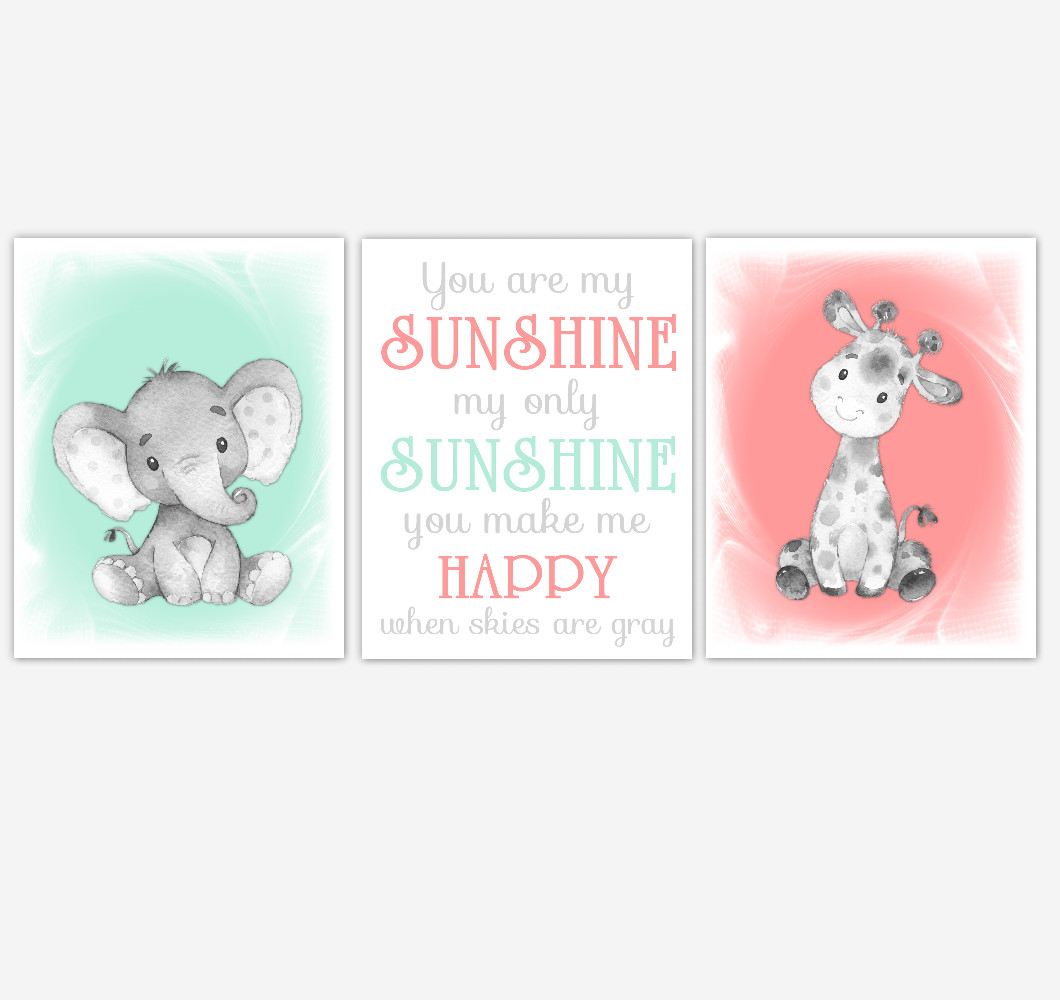 Safari Animals Baby Girl Nursery Decor Coral Mint Green Wall Art Prints Elephant Giraffe Home Decor Kids Bedroom Pictures Set of 3 UNFRAMED PRINTS or CANVAS