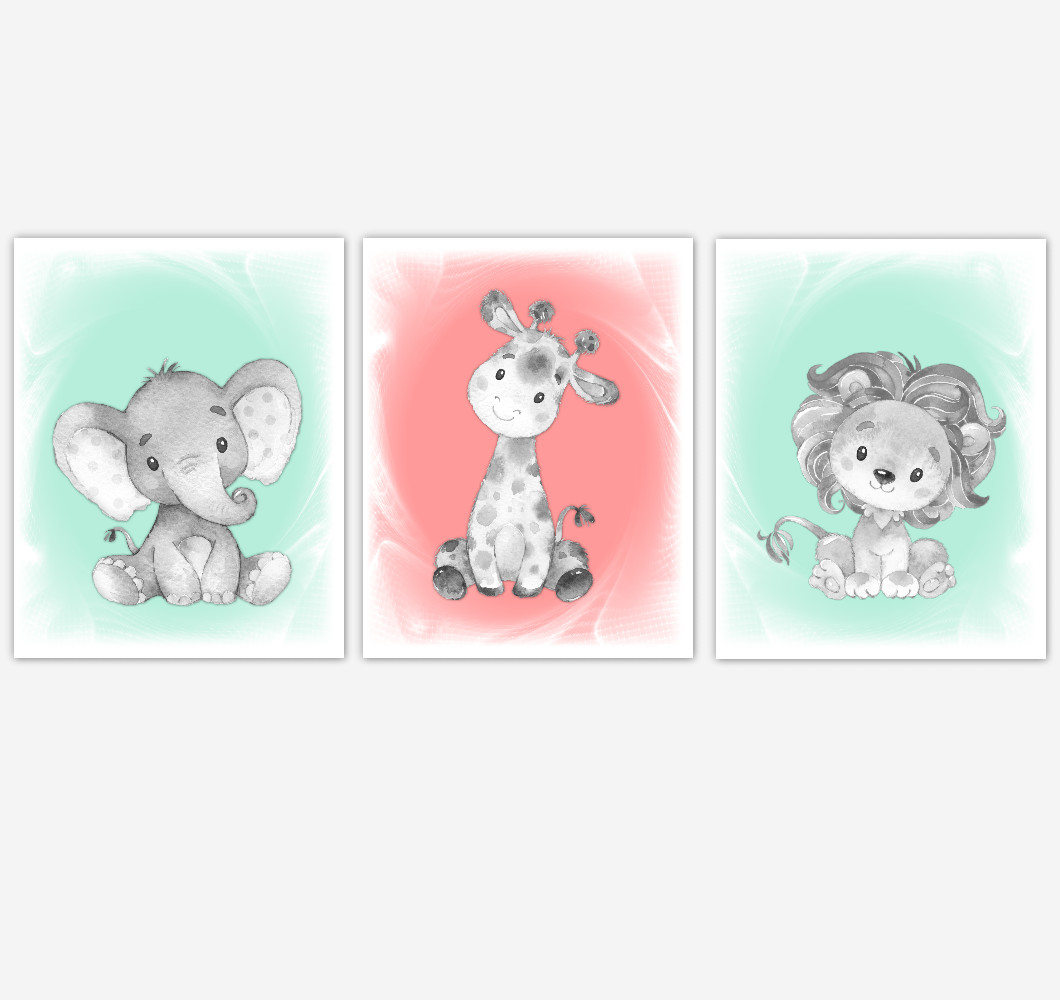 Safari Animals Baby Girl Nursery Decor Coral Mint Green Wall Art Prints Elephant Giraffe Lion Home Decor Kids Bedroom Pictures Set of 3 UNFRAMED PRINTS or CANVAS