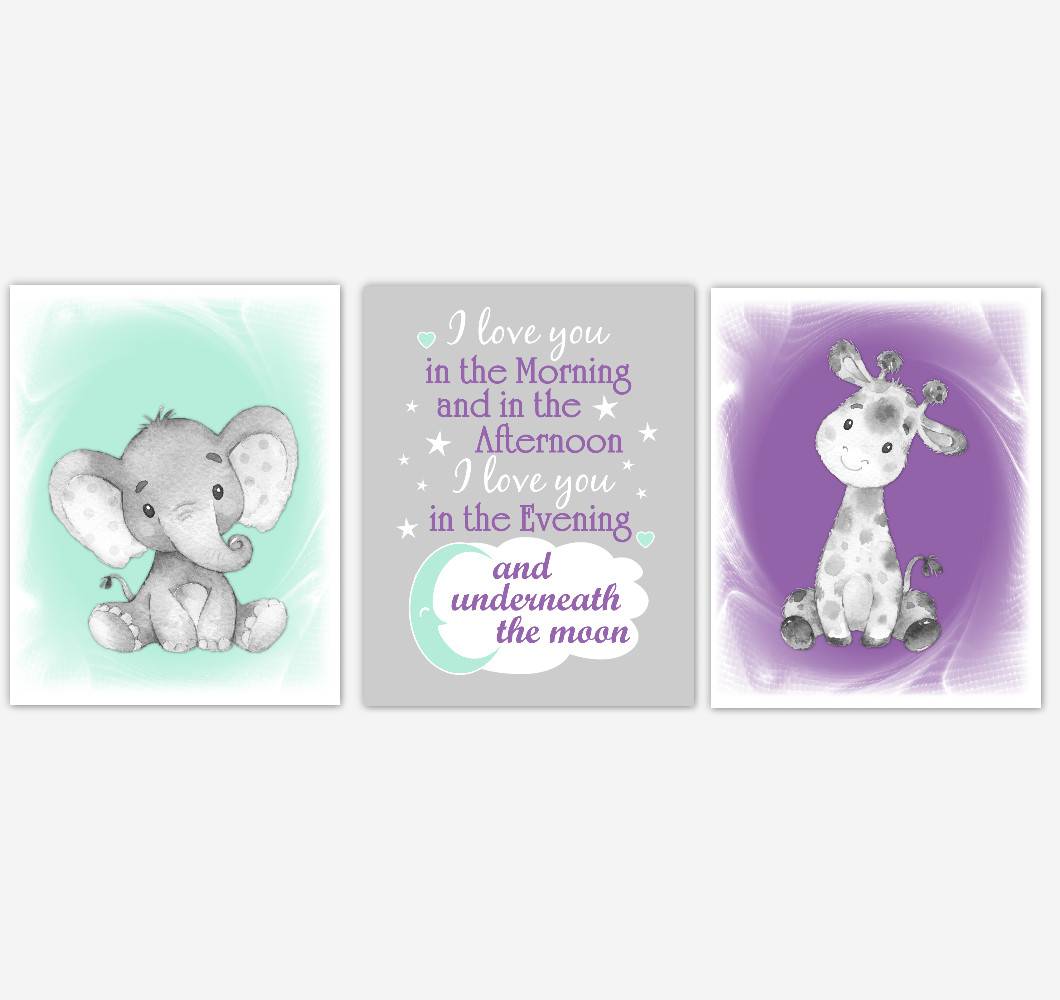 Safari Animals Baby Girl Nursery Decor Mint Green Purple Wall Art Prints Elephant Giraffe Home Decor Kids Bedroom Pictures Set of 3 UNFRAMED PRINTS or CANVAS
