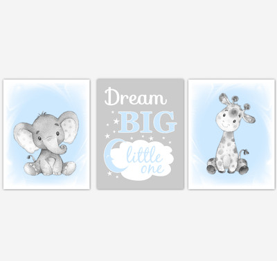 Safari Animals Blue Baby Boy Nursery Decor Wall Art Prints Elephant Giraffe Home Decor Kids Bedroom Pictures​ Set of 3 UNFRAMED PRINTS or CANVAS