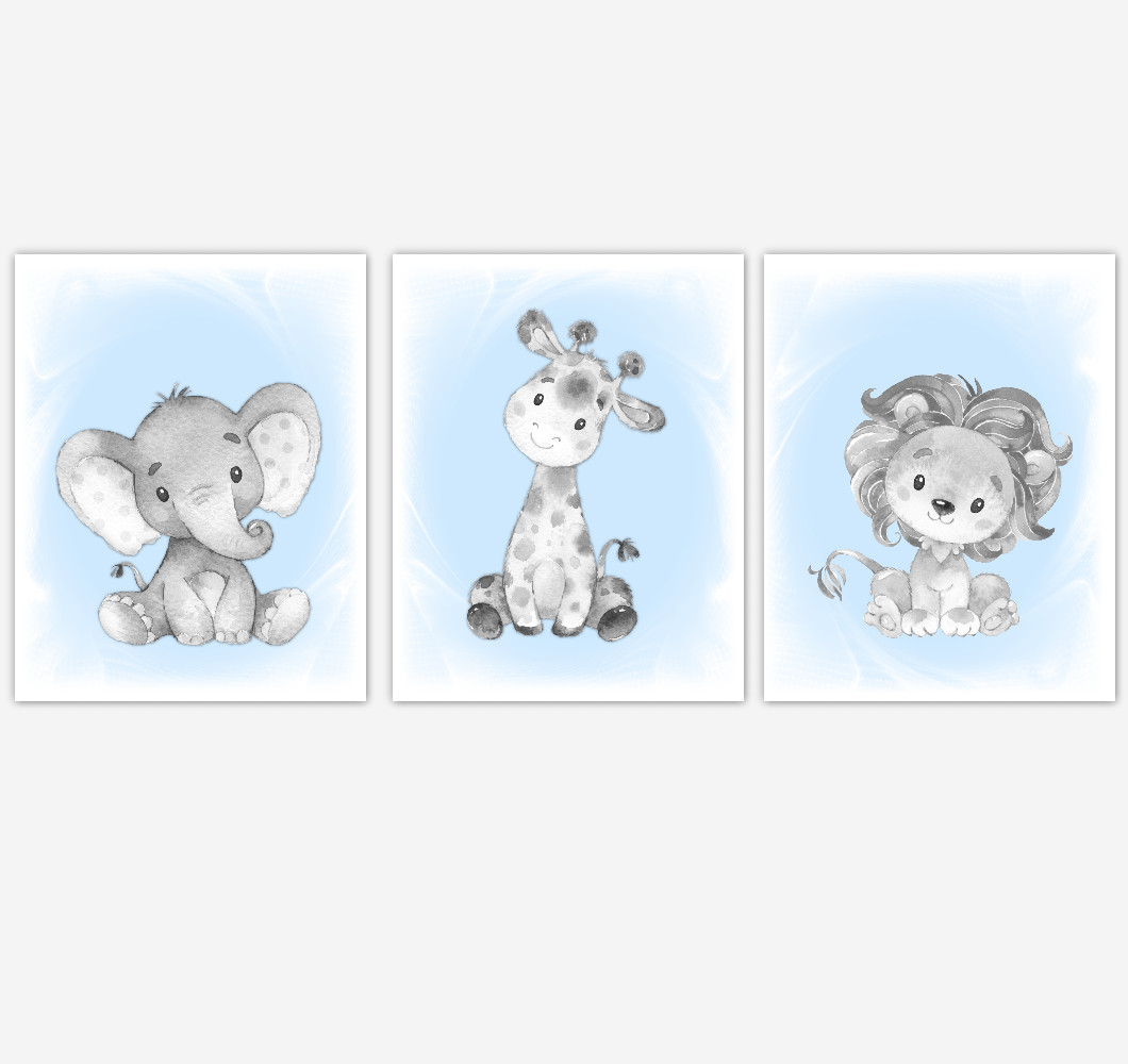 Safari Animals Blue Baby Boy Nursery Decor Wall Art Prints Elephant Giraffe Lion Home Decor Kids Bedroom Pictures​ Set of 3 UNFRAMED PRINTS or CANVAS