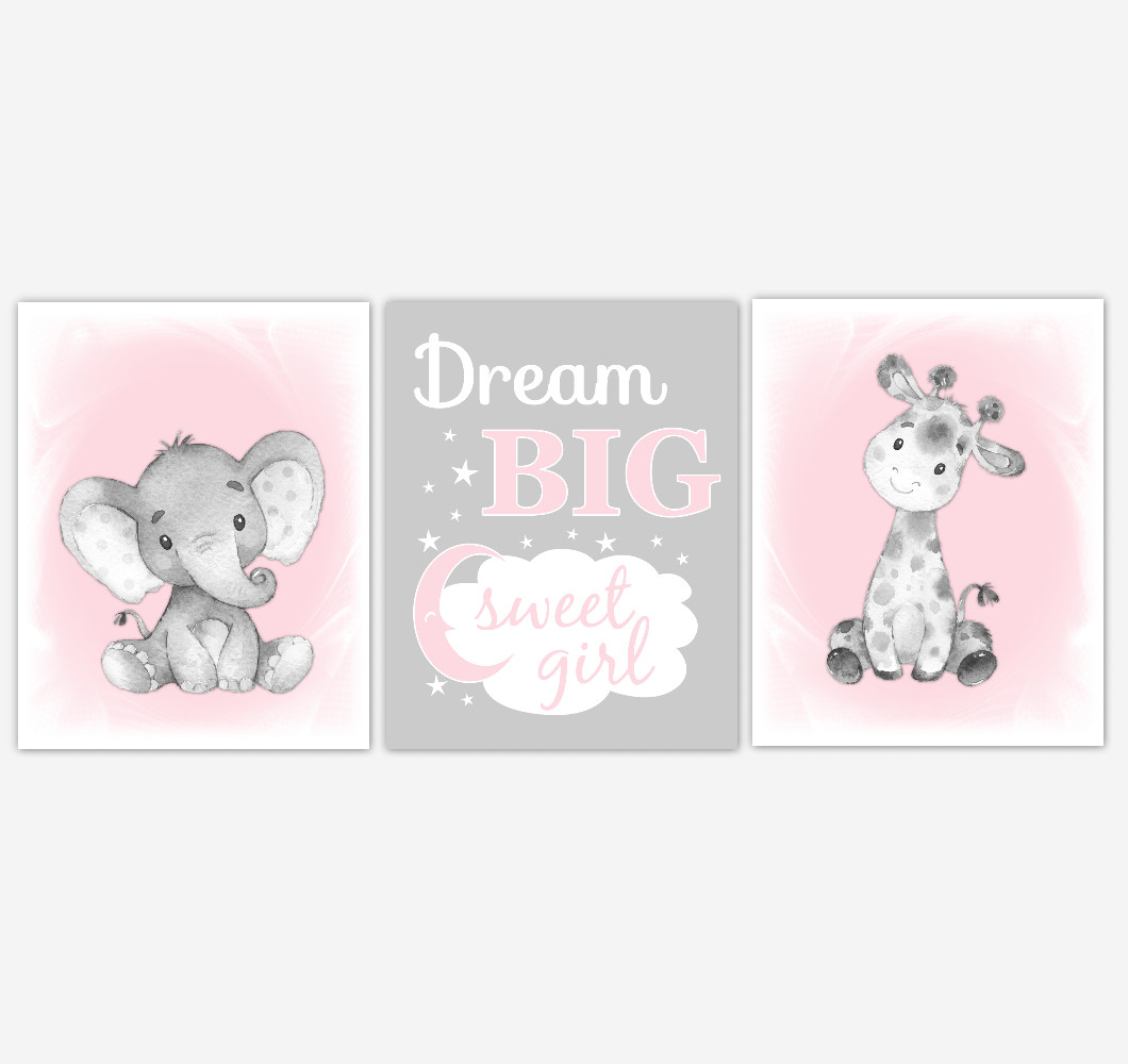 Safari Animals Pink Baby Girl Nursery Decor Wall Art Prints Elephant Giraffe Home Decor Kids Bedroom Pictures​ Set of 3 UNFRAMED PRINTS or CANVAS