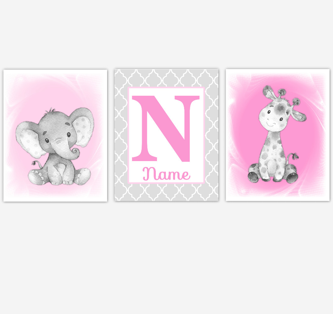 Safari Animals Baby Girl Nursery Wall Art Elephant Giraffe Pink Girl Nursery Pictures Personalized Baby Wall Decor Baby Nursery Decor SET OF 3 UNFRAMED PRINTS or CANVAS