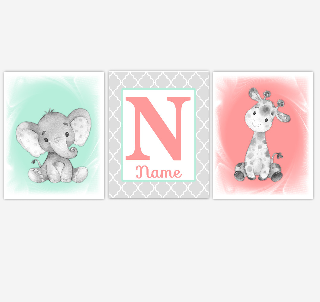 Safari Animals Coral Mint Baby Girl Nursery Wall Art Elephant Giraffe Pink Girl Nursery Pictures Personalized Baby Wall Decor Baby Nursery Decor SET OF 3 UNFRAMED PRINTS or CANVAS