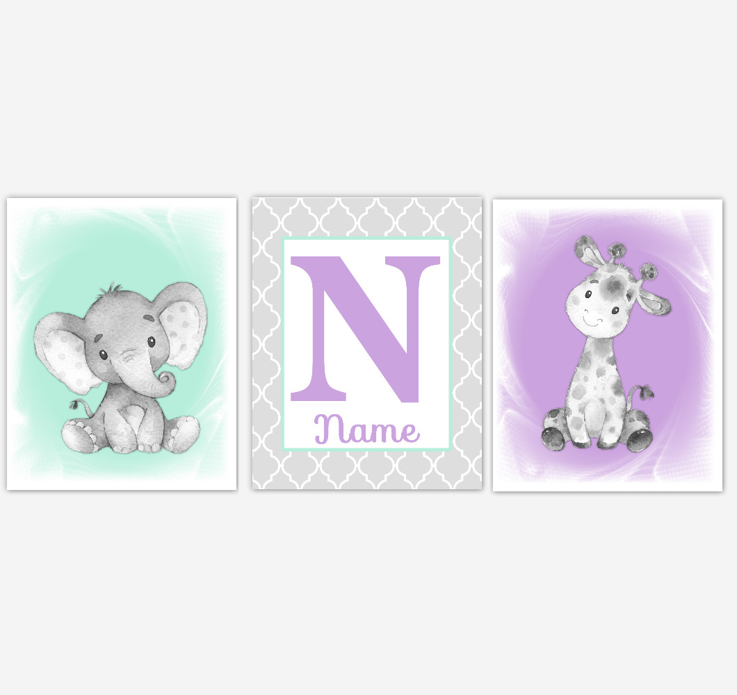 Safari Animals Purple Mint Baby Girl Nursery Wall Art Elephant Giraffe Pink Girl Nursery Pictures Personalized Baby Wall Decor Baby Nursery Decor SET OF 3 UNFRAMED PRINTS or CANVAS