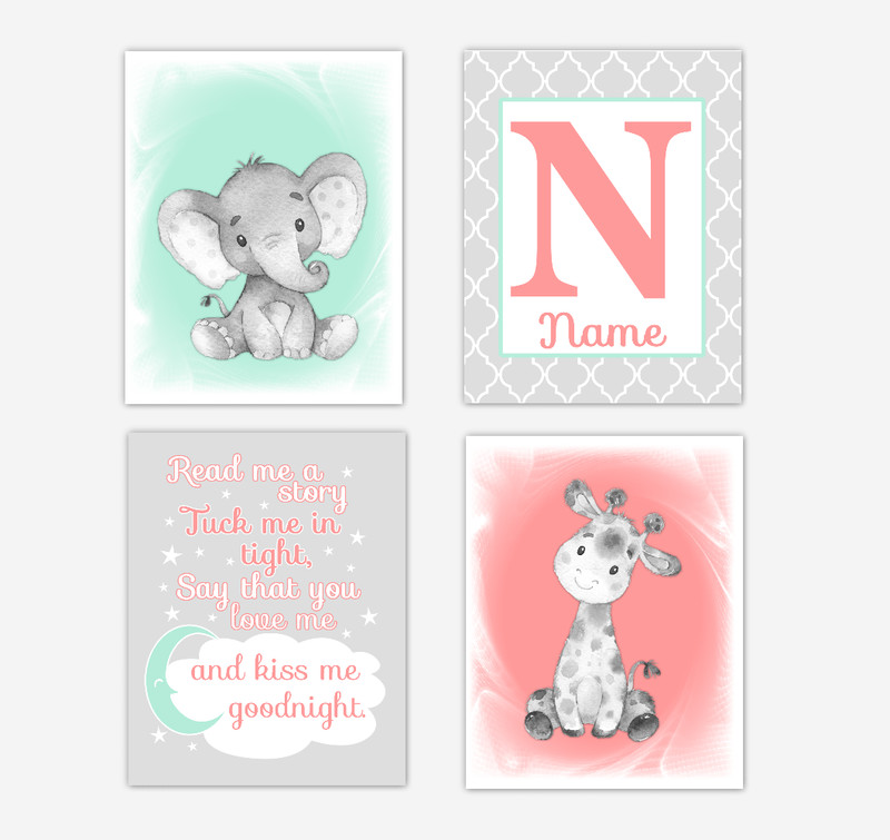 Safari Animals Coral Mint Green Baby Girl Nursery Decor Wall Art Prints Elephant Giraffe Personalized Pictures New Baby Girl SET OF 4 UNFRAMED PRINTS or CANVAS