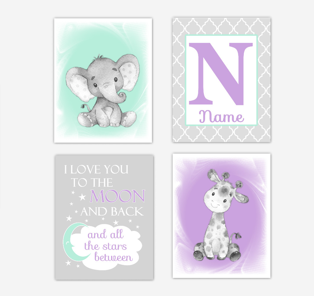 Safari Animals Purple Mint Green Baby Girl Nursery Decor Wall Art Prints Elephant Giraffe Personalized Pictures New Baby Girl SET OF 4 UNFRAMED PRINTS or CANVAS