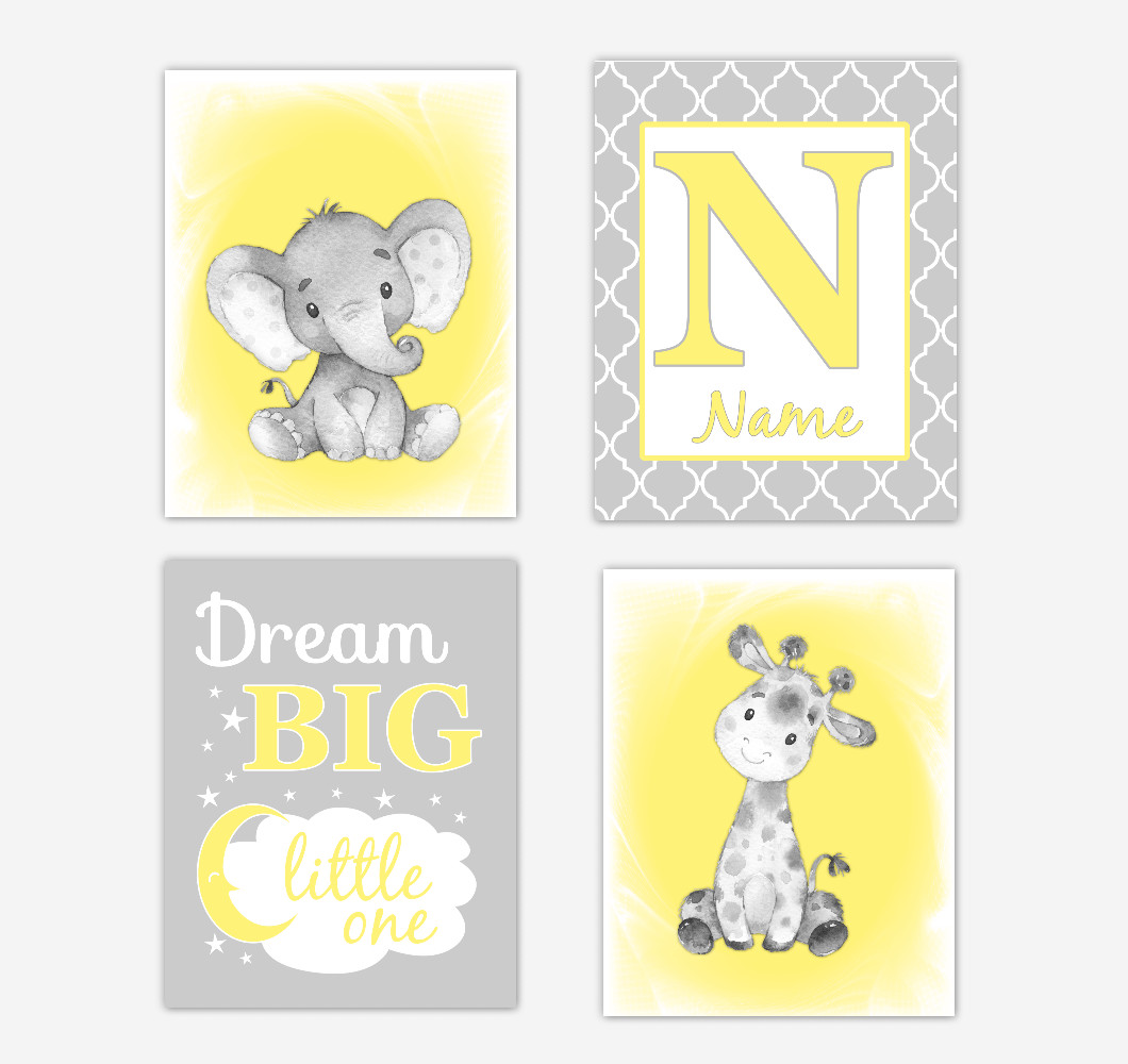 Gender Neutral Yellow Safari Animals Baby Nursery Decor Wall Art Prints Elephant Giraffe Personalized Pictures New Baby Gift SET OF 4 UNFRAMED PRINTS or CANVAS