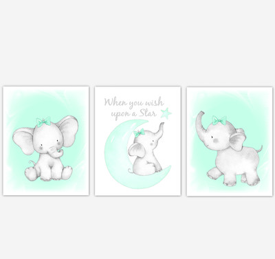Mint Elephant Baby Girl Nursery Decor Watercolor Wall Art Shower Gift Kids Bedroom Pictures Set of 3 UNFRAMED PRINTS or CANVAS