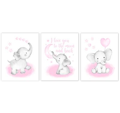 Watercolor Pink Elephants Baby Girl Nursery Art Wall Decor 3 UNFRAMED PRINTS or CANVAS