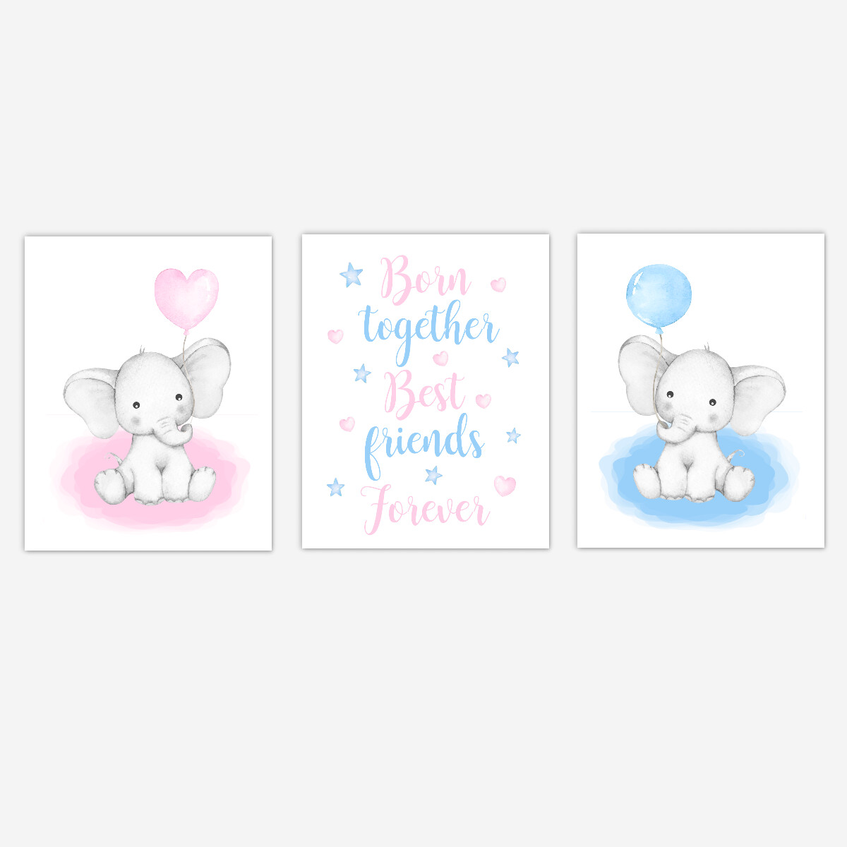 Twins Watercolor Blue Pink Elephants Baby Boy Girl Nursery Wall Art 3 UNFRAMED PRINTS or CANVAS