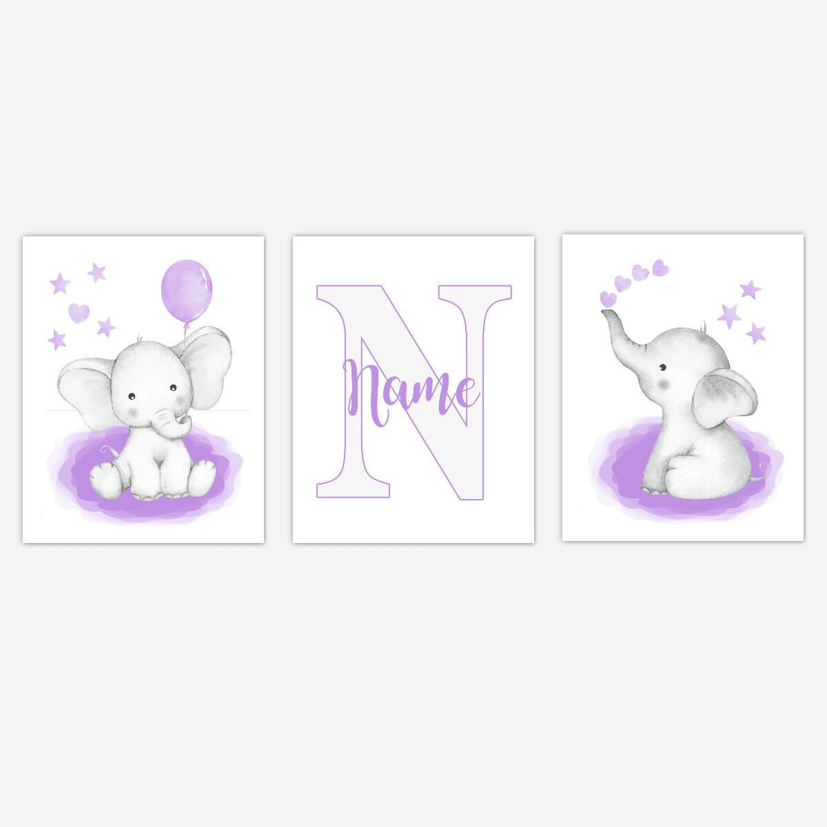 Watercolor Purple Elephants Baby Girl Nursery Art Wall Decor 3 UNFRAMED PRINTS or CANVAS