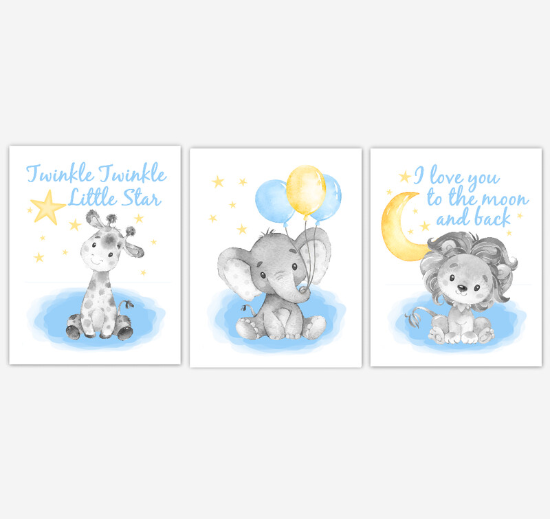 Watercolor Blue Yellow Elephant With Balloons Giraffe Lion Safari Baby Boy Nursery Art Wall Decor 3 UNFRAMED PRINTS or CANVAS