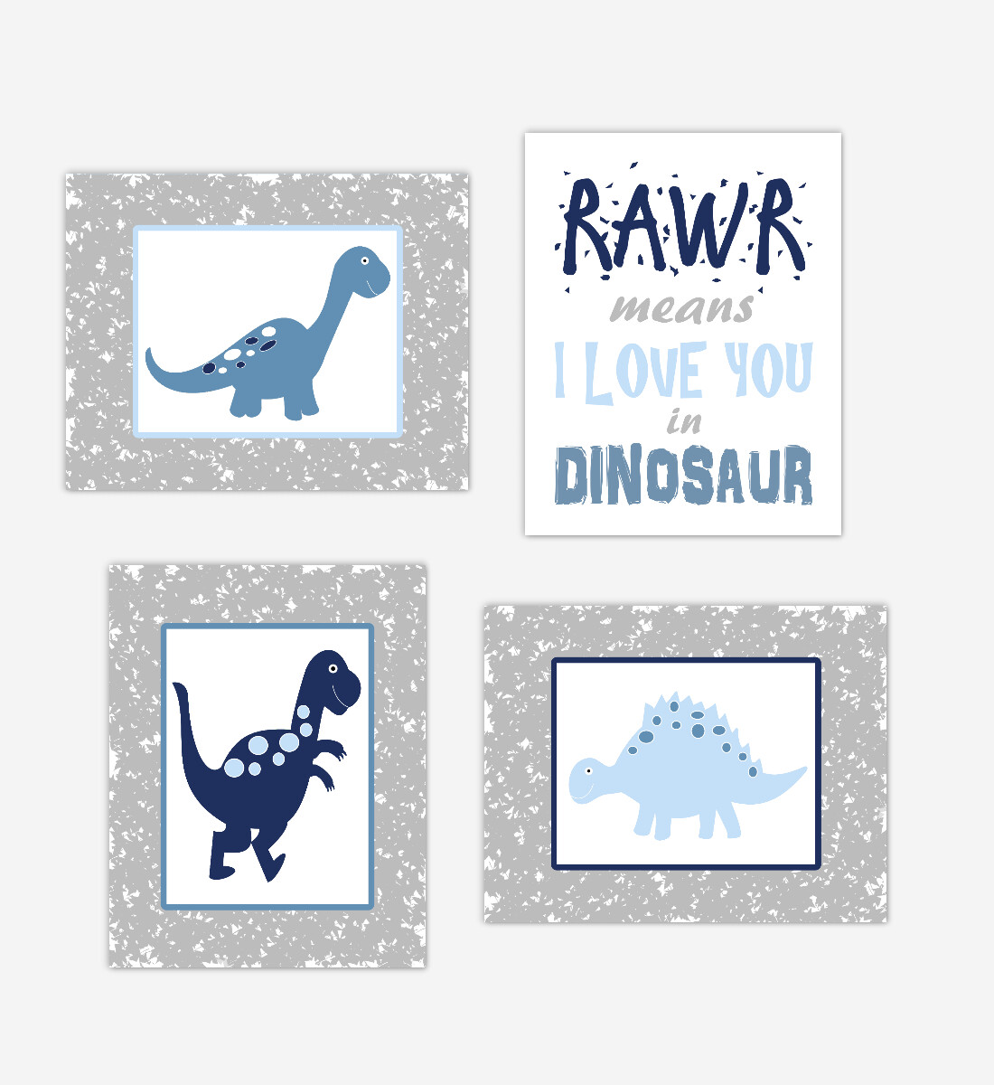 Dinosaur Baby Boy Nursery Wall Art Navy Blue Gray Dinos Print Baby Nursery Decor Playroom RAWR Means I Love You In Dinosaur