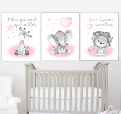 Pink Baby Girl Nursery Art Elephant With Balloons Giraffe Lion Safari Animals Wall Decor 3 UNFRAMED PRINTS or CANVAS