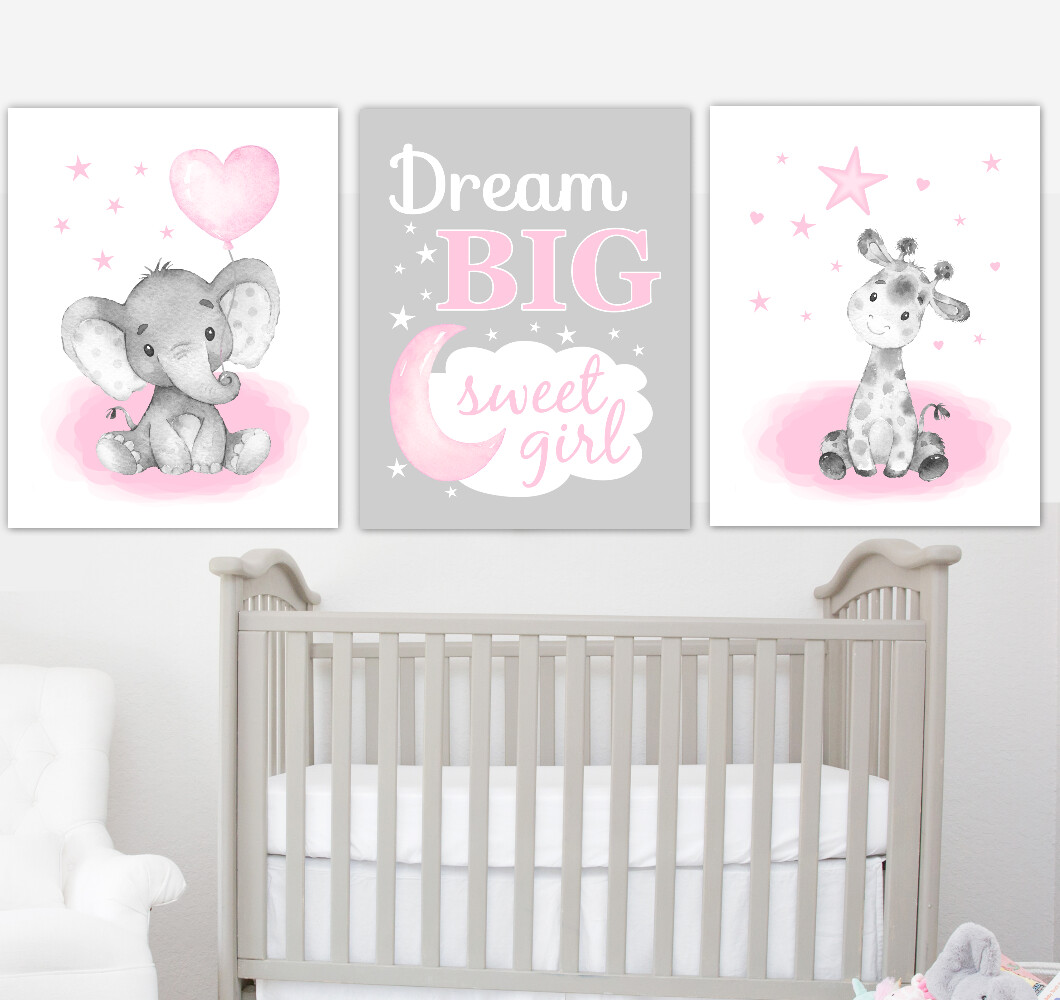 Pink Baby Girl Nursery Art Elephant With Balloons Giraffe Safari Animals Wall Decor3 UNFRAMED PRINTS or CANVAS