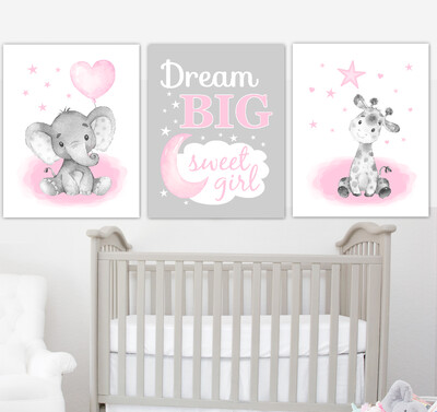 Pink Baby Girl Nursery Art Elephant With Balloons Giraffe Safari Animals Wall Decor3 UNFRAMED PRINTS or CANVAS
