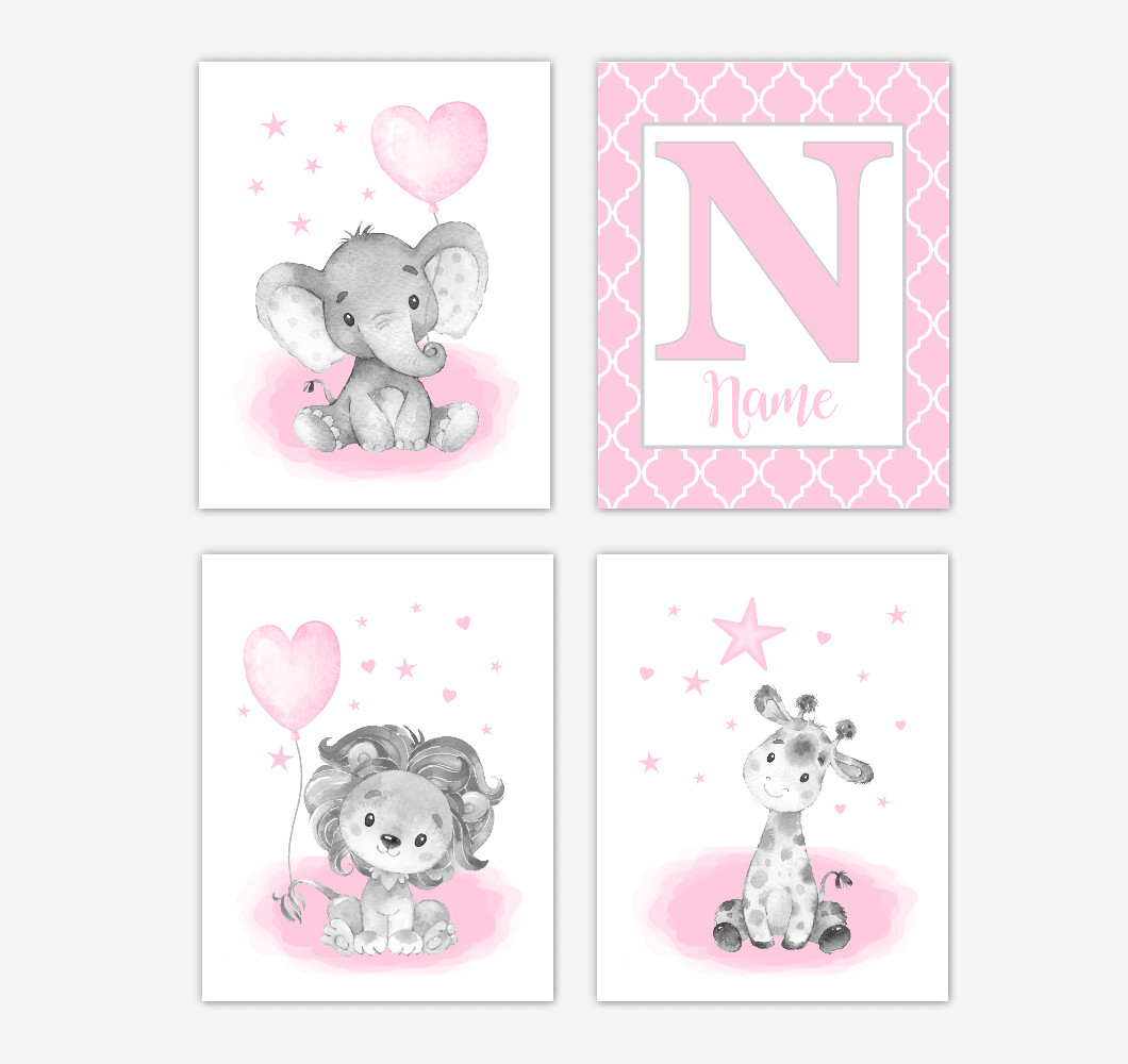 Pink Elephants Baby Girl Nursery Art Giraffe Lion Personalized Wall Decor 4 UNFRAMED PRINTS or CANVAS