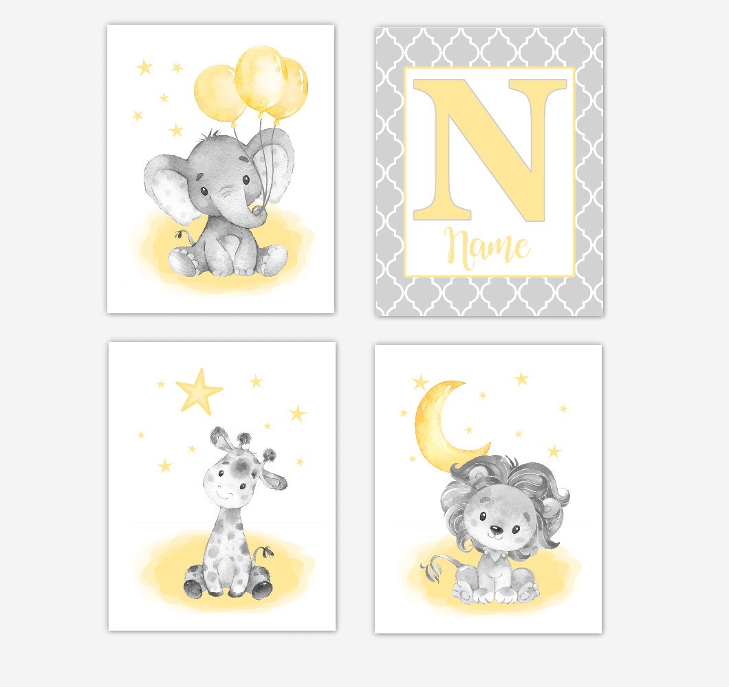 Yellow Elephants Baby Nursery Art Giraffe Lion Safari Animals Personalized Gender Neutral Wall Decor 4 UNFRAMED PRINTS or CANVAS