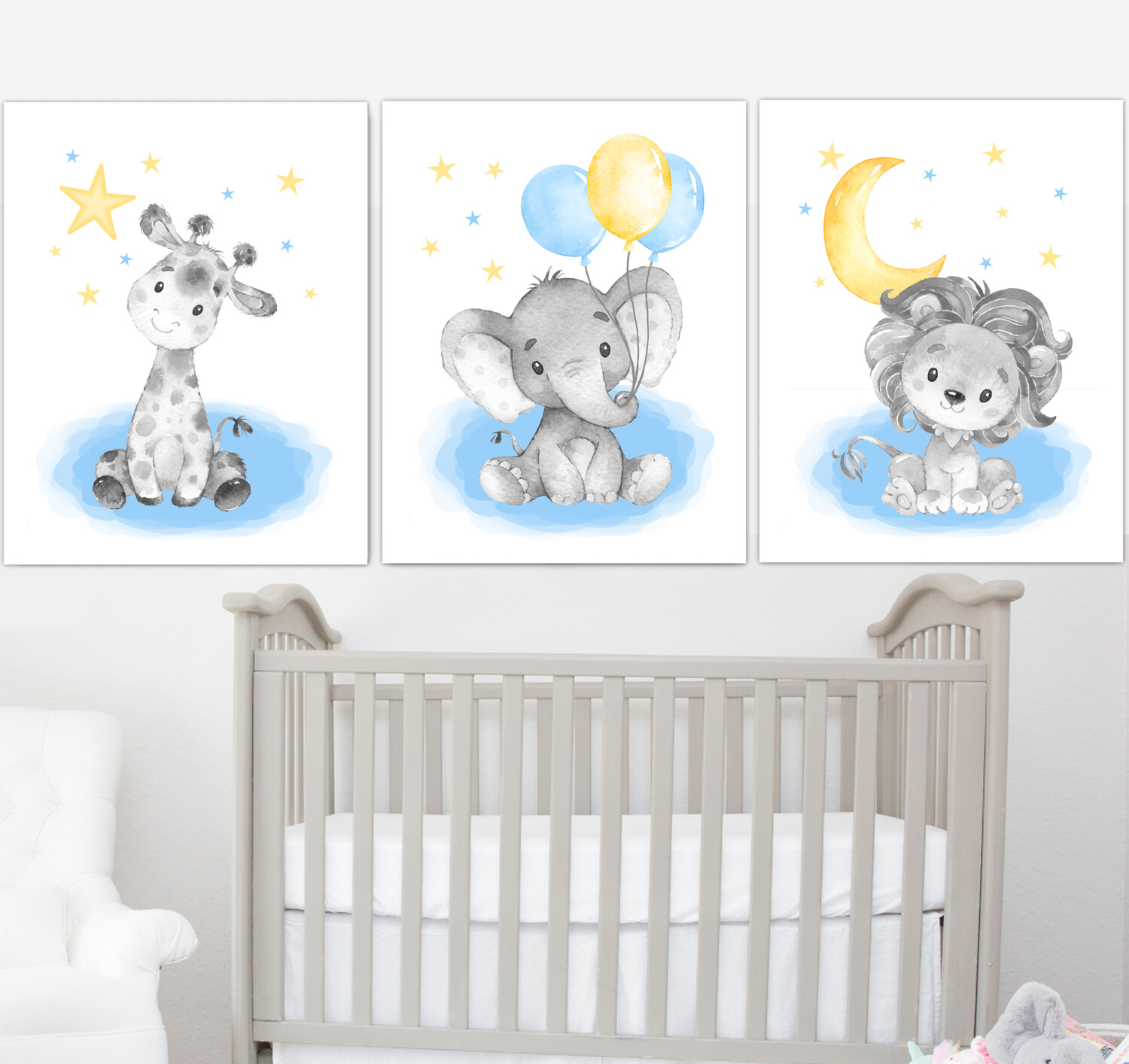 Blue Yellow Baby Boy Nursery Art Elephant With Balloons Giraffe Safari Animals Wall Decor 3 UNFRAMED PRINTS or CANVAS