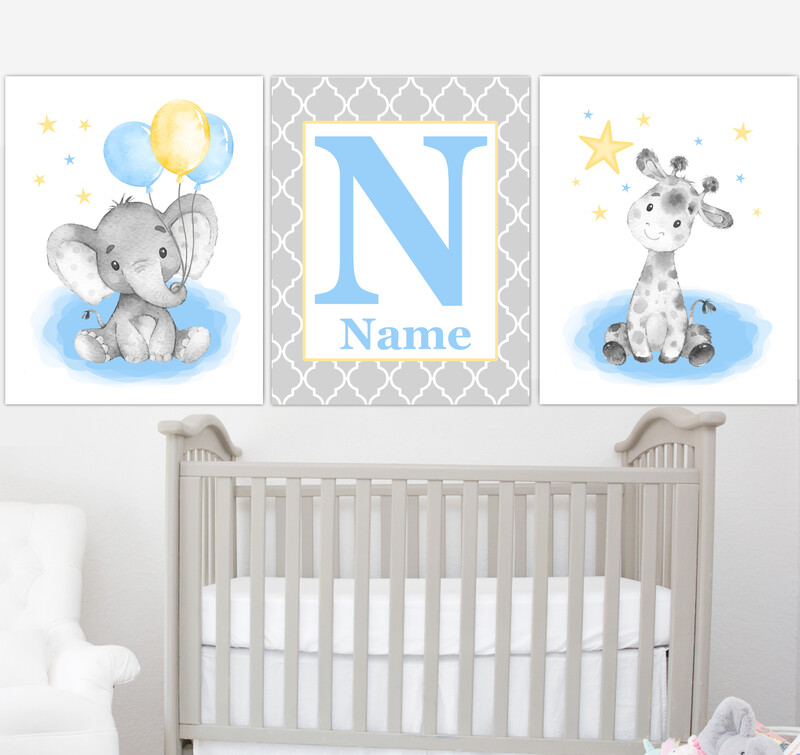 Blue Yellow Baby Boy Nursery Art Elephant With Balloons Giraffe Safari Animals Personalized Wall Decor 3 UNFRAMED PRINTS or CANVAS
