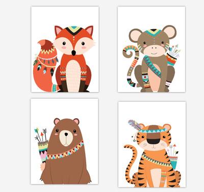 Tribal Fox Wall Art Woodland Animals Tiger Bear Monkey Baby Boy Wall Decor 4 UNFRAMED PRINTS or CANVAS