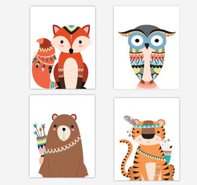 Tribal Fox Wall Art Woodland Animals Tiger Bear Owl Baby Boy Wall Decor 4 UNFRAMED PRINTS or CANVAS