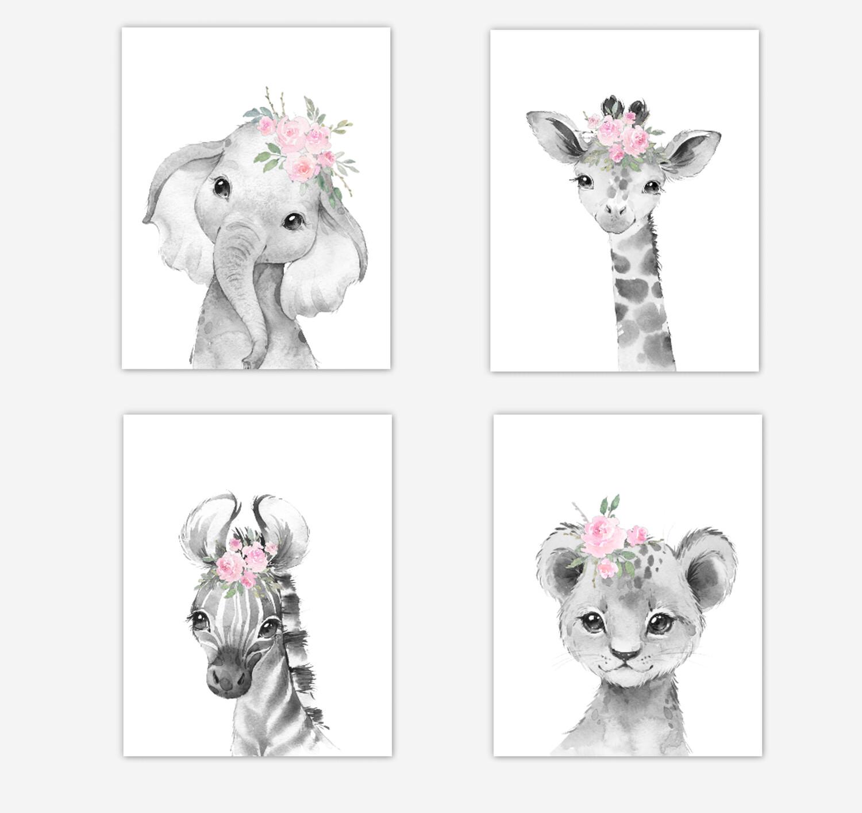 Safari Animals Baby Girl Nursery Wall Art Decor Pink Floral Elephant Giraffe Lion Zebra 4 UNFRAMED PRINTS or CANVAS