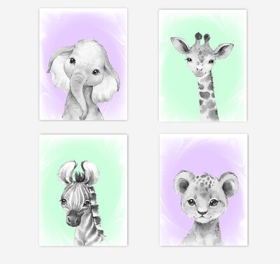 Safari Animals Baby Girl Nursery Wall Art Decor Purple Mint Elephant Giraffe Lion Zebra 4 UNFRAMED PRINTS or CANVAS