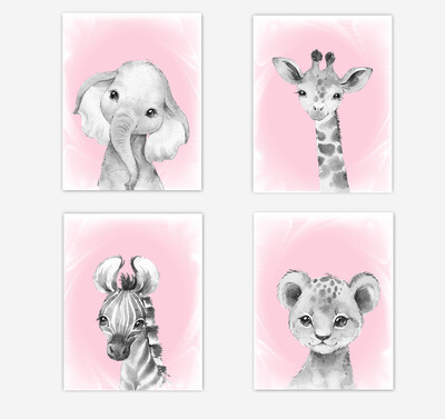 Safari Animals Baby Girl Nursery Wall Art Decor Pink Elephant Giraffe Lion Zebra 4 UNFRAMED PRINTS or CANVAS