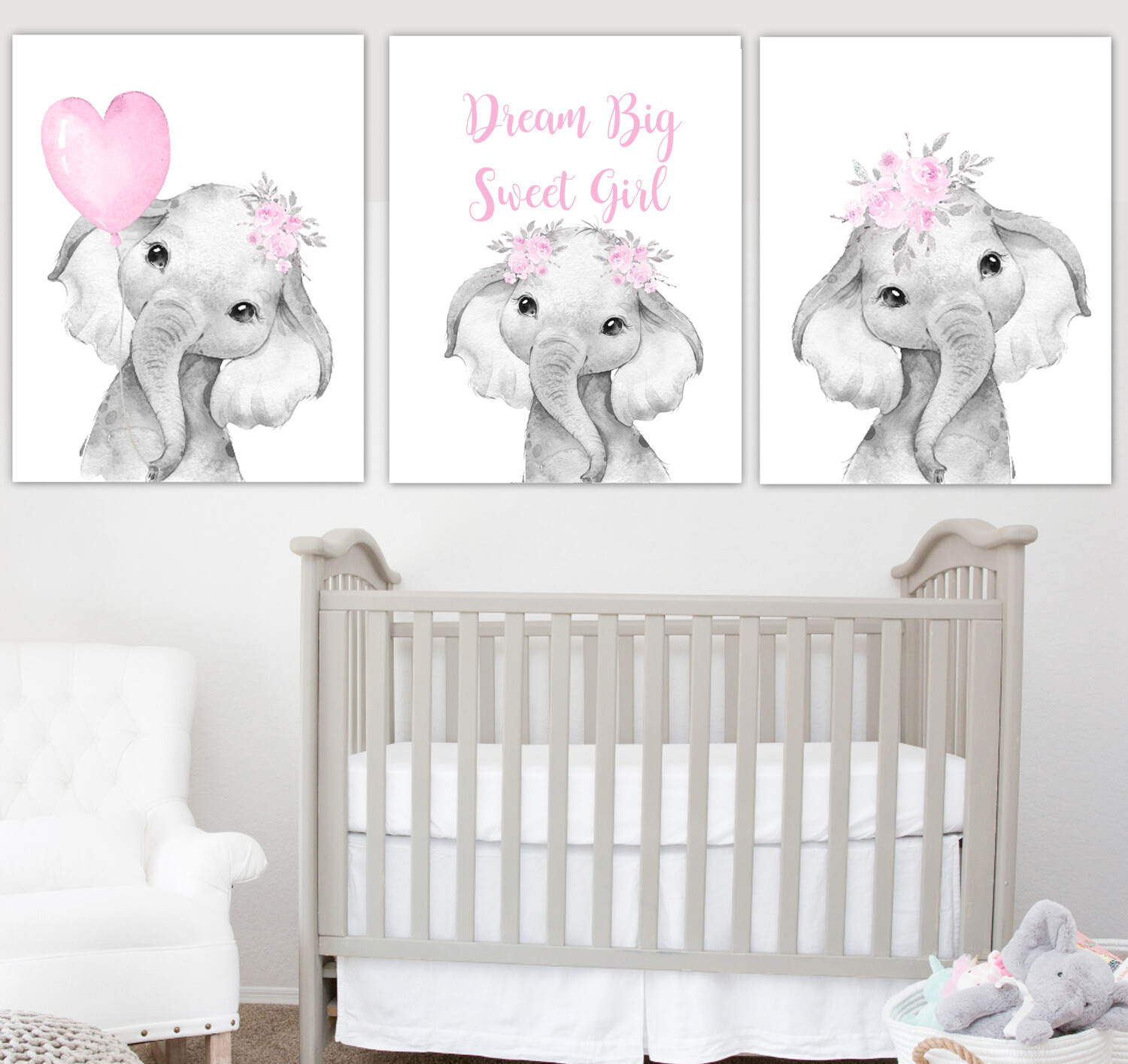 Pink Baby Girl Nursery Art Elephant With Balloons ...