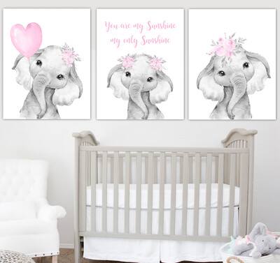 Pink Baby Girl Nursery Art Elephant With Balloons Watercolor Flowers Safari Animals Wall Decor 3 UNFRAMED PRINTS or CANVAS