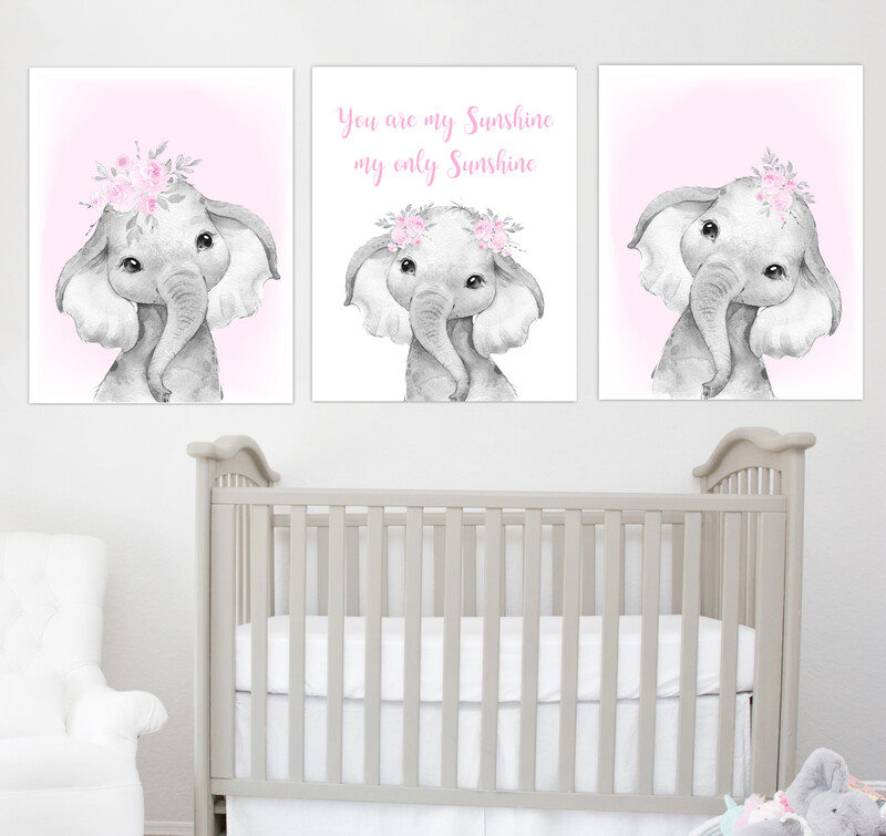 Pink Baby Girl Nursery Art Elephant Watercolor Flowers Safari Animals Wall Decor 3 UNFRAMED PRINTS or CANVAS