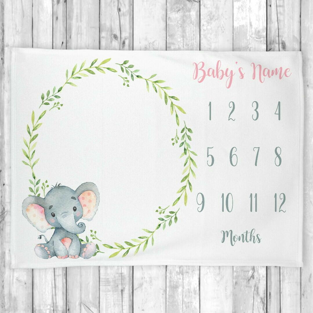 Monthly Milestone Baby Boy Blanket Personalized Elephant Baby Blanket New Baby Shower Gift