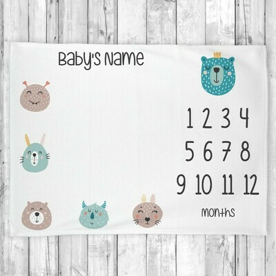 Monthly Milestone Baby Boy Blanket Cute Faces Monthly Baby Blanket Personalized Baby Blanket Shower Gift