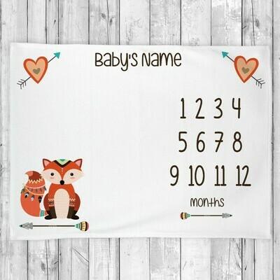 Monthly Milestone Baby Boy Blanket Fox Monthly Baby Blanket Personalized Baby Blanket Shower Gift
