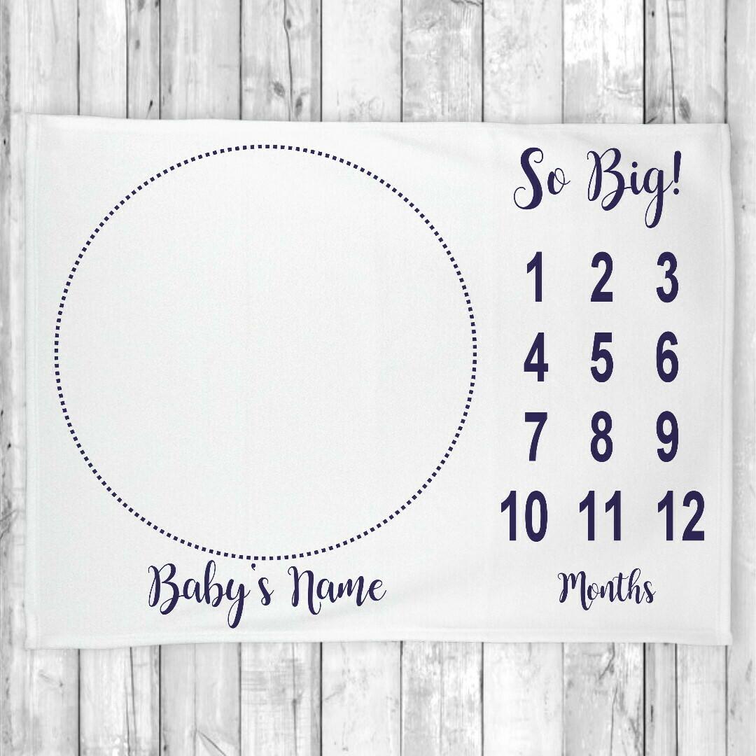 Monthly Milestone Baby Boy Blanket Personalized Navy Blue Baby Blanket New Baby Shower Gift